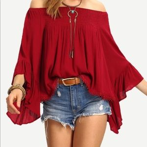 Bohemian off shoulder red chiffon blouse top